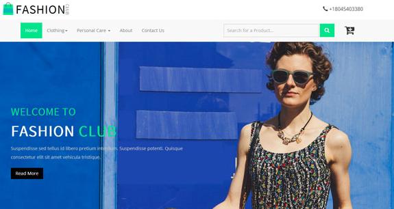 蓝色系时尚购物电子商务整站模板
