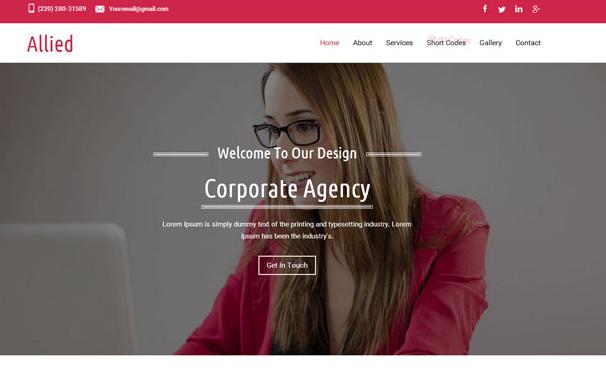 红色的大气商务办公企业模板