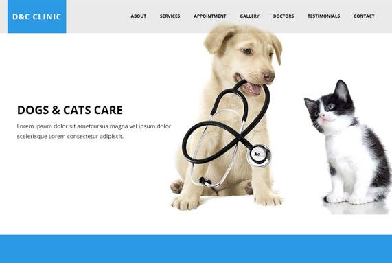 幼宠宠物医院HTML5网站模板