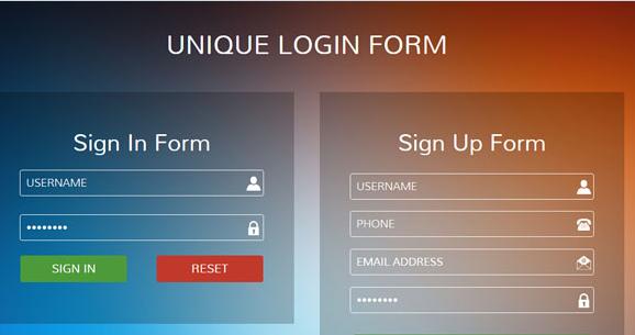 彩色渐变网站透明表单模板下载
