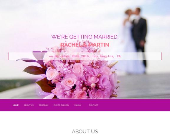 红粉色喜庆婚纱HTML5模板