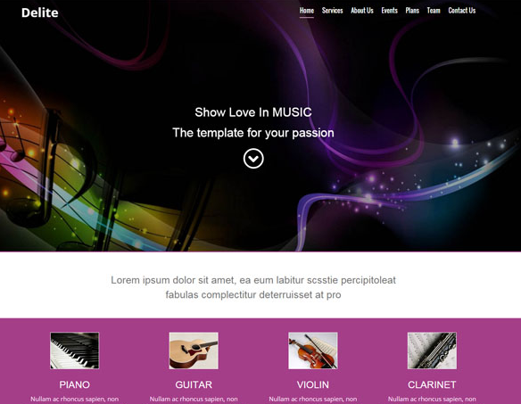 HTML5的专业吉他乐器音乐网站模板