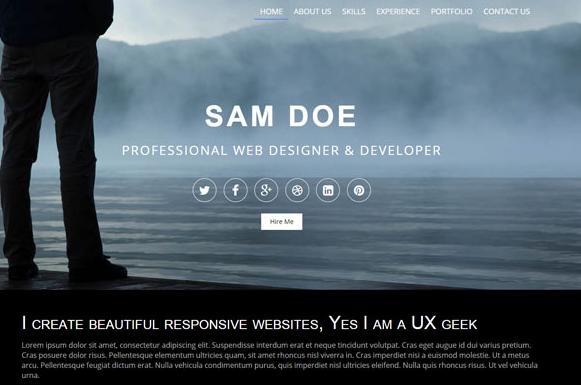 灰色全屏個人主頁展示html5模板