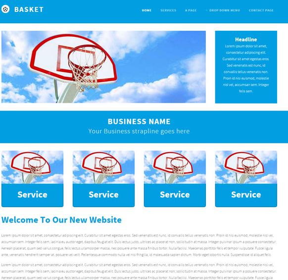 簡潔藍色風格H5網頁模板