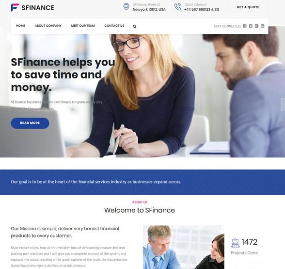 蓝紫色企业博客网站模板