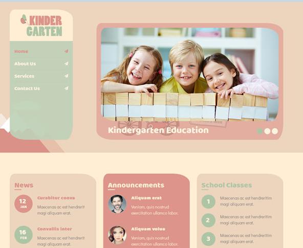 响应式可爱幼儿园网站模板