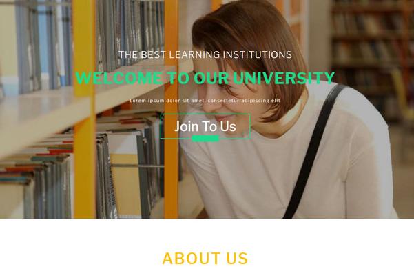 绿色大学图书馆机构网站模板