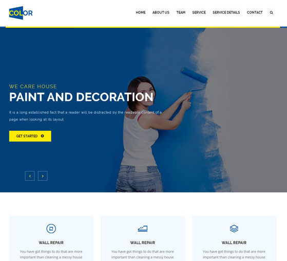 蓝色墙壁粉刷公司网站模板