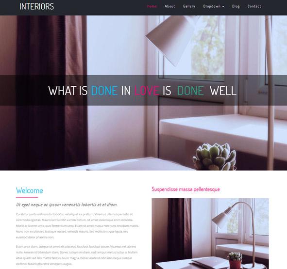 粉红色扁平化室内设计网站模板