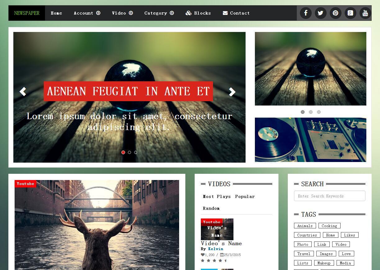暗绿色新闻博客blog门户网站模板