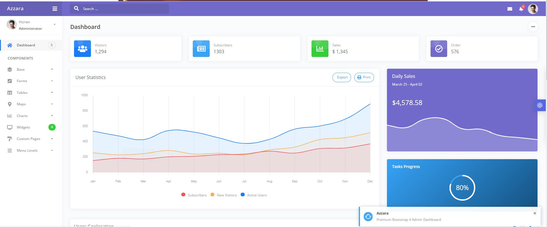 紫色精品Bootstrap4 后臺UI模板