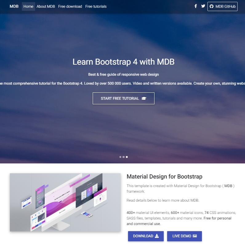 Bootstrap4引导页单页html5模板
