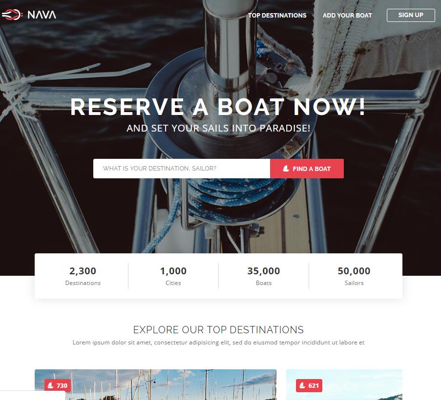 游轮帆船租赁旅游响应式模板