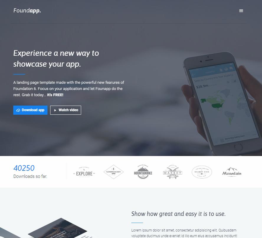 foundApp宣传展示页企业网站模板