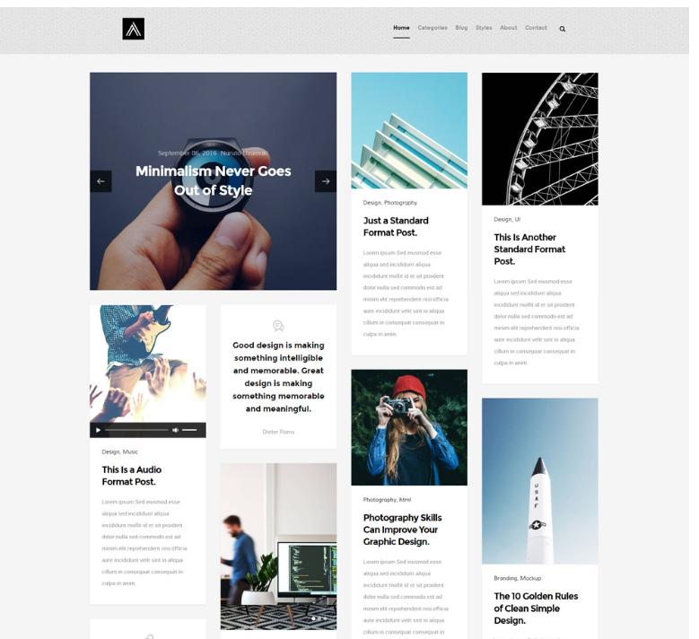 瀑布流博客网站模板