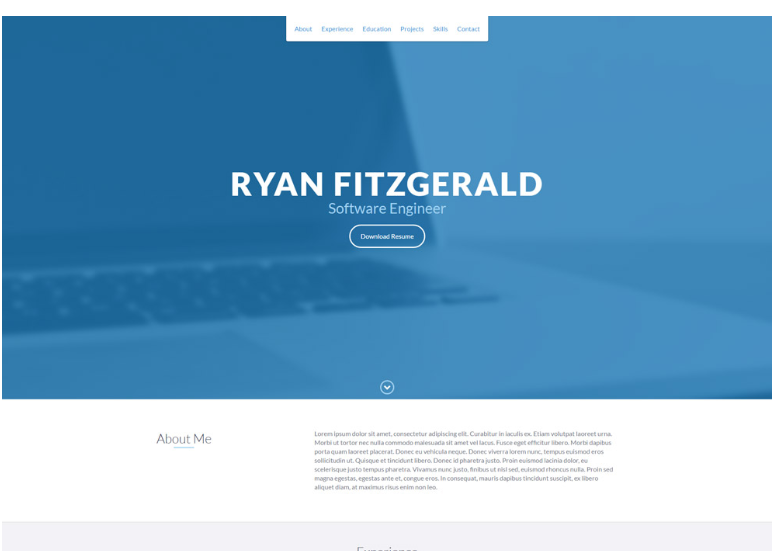 Bootstrap蓝白色单页个人网站模板