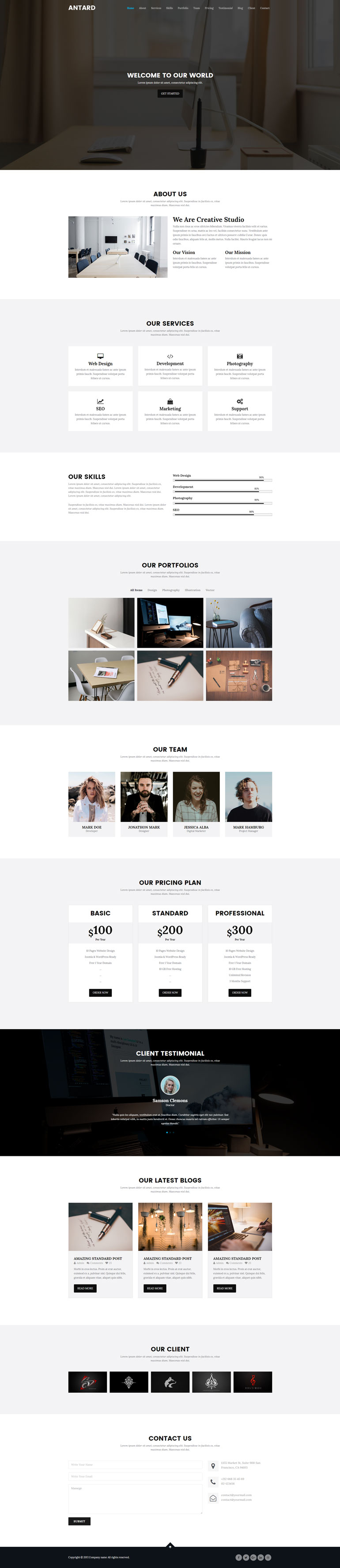Bootstrap3黑色系个人网站单页
