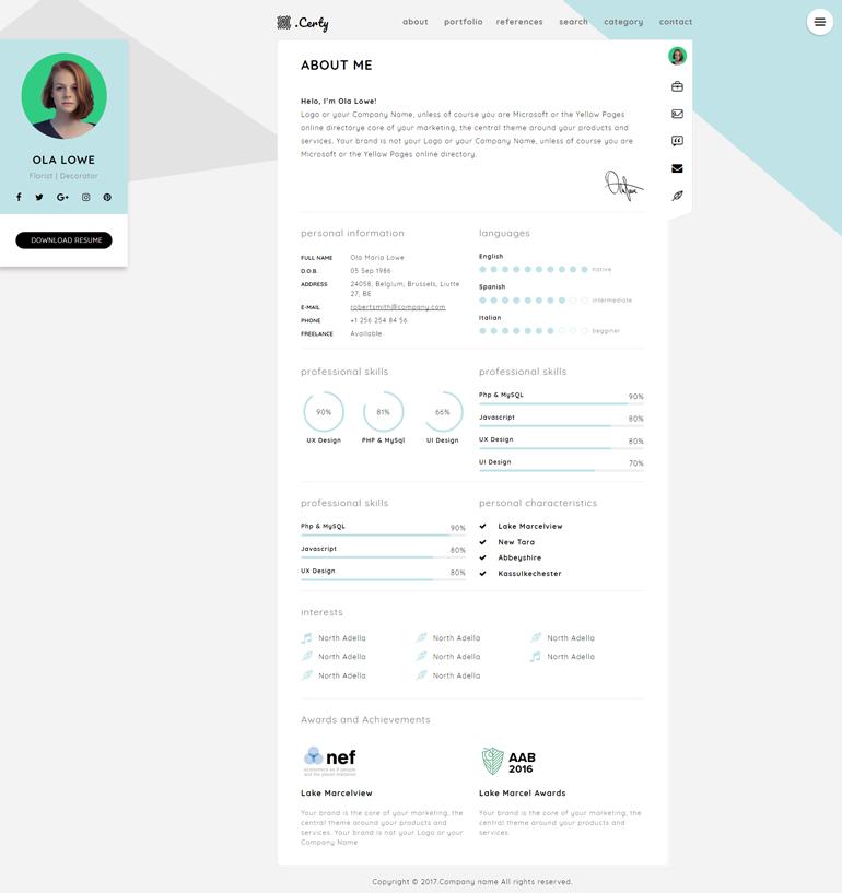 HTML5响应式个人简历网站模板