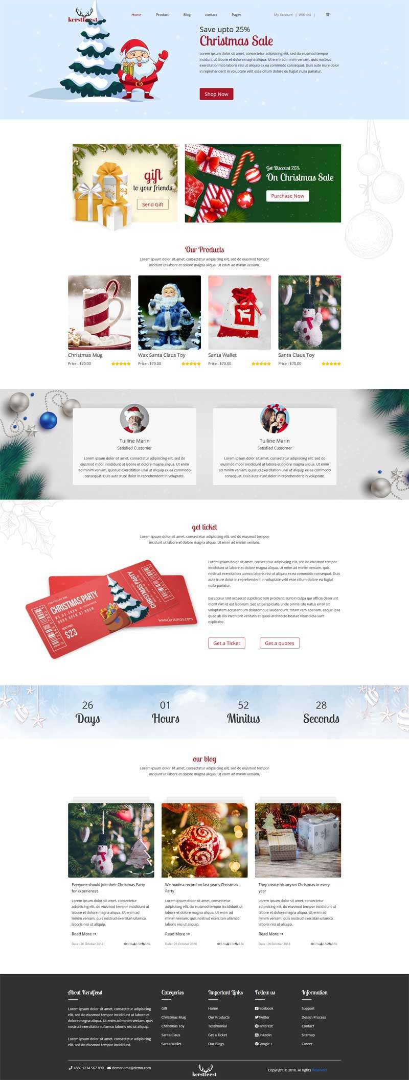 Bootstrap圣诞节主题商城网站模板