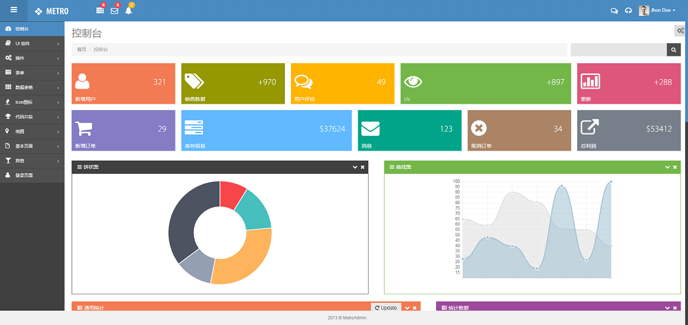 Metro风格的响应式后台管理系统模板
