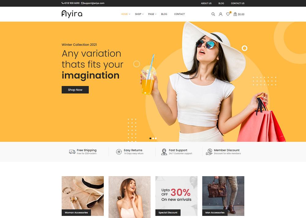 创意电商购物网站UI设计前端模板Ayira