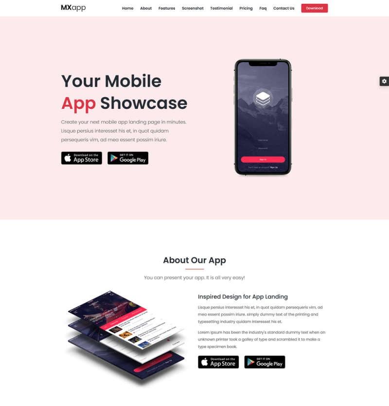 手机app功能介绍下载页模板