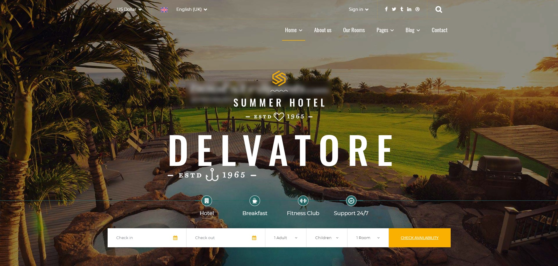 响应式的度假酒店预订网站模板
