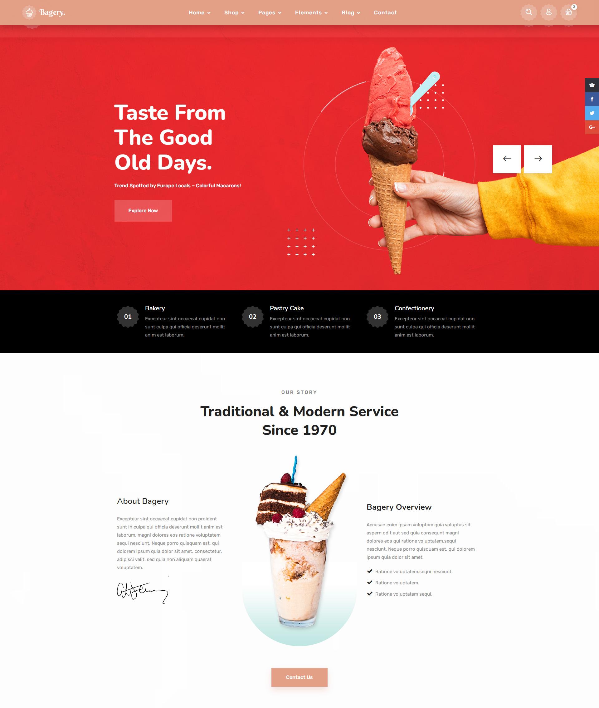 冰淇淋蛋糕店铺电商网页模板