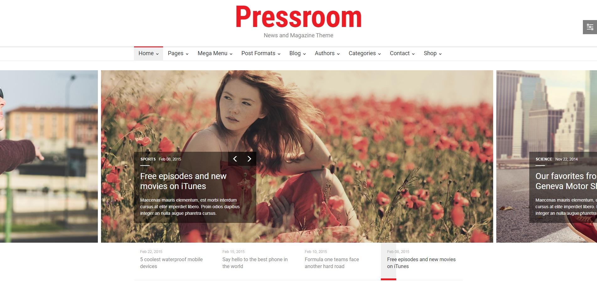 新闻资讯博客文章网站WordPress主题模板-Pressroom