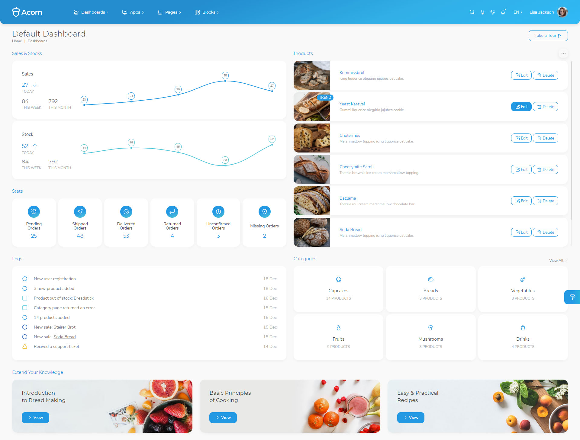 餐饮美食店铺系统Admin管理模板-Acorn