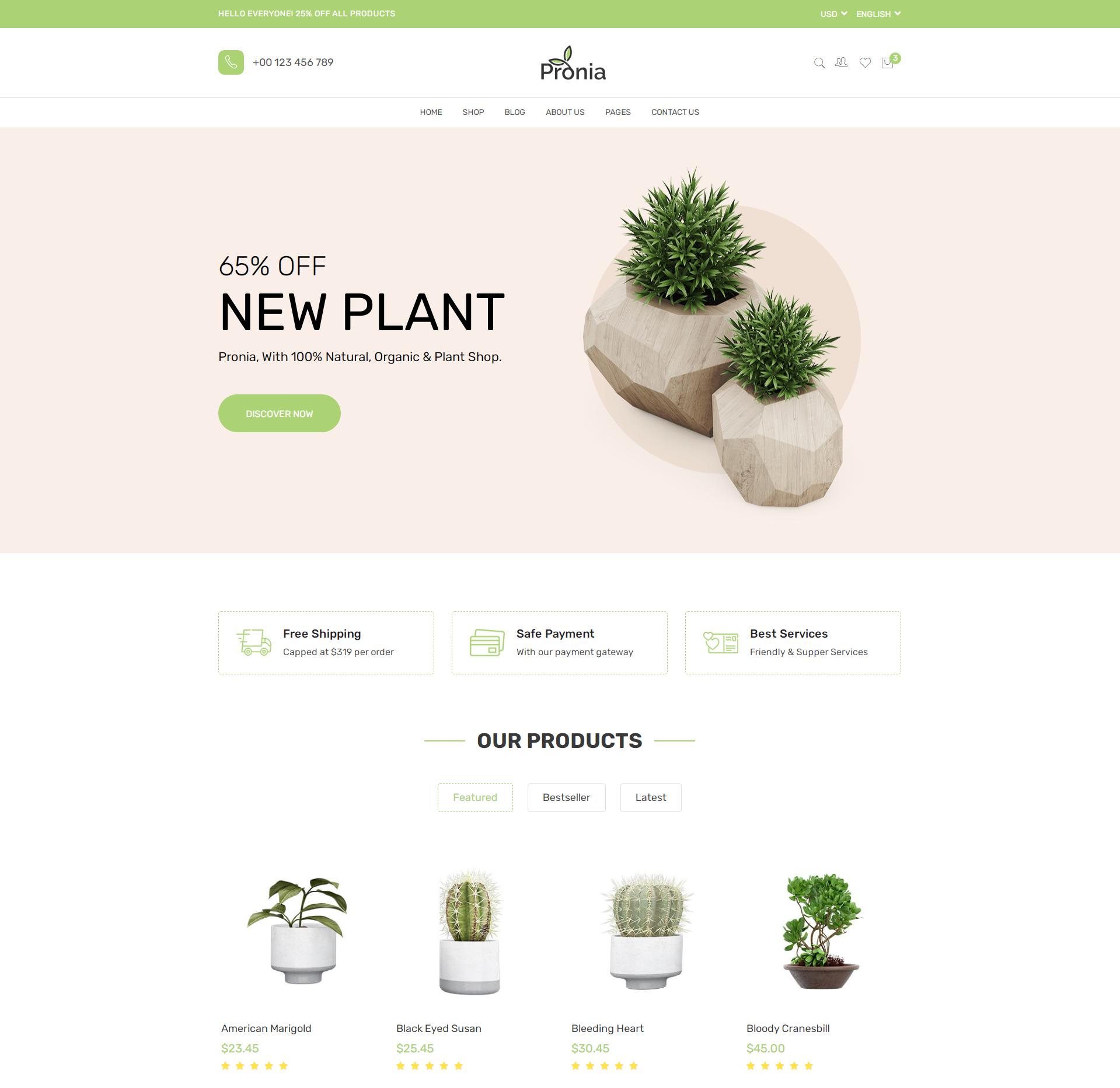 绿色的盆栽植物商城网页模板-Pronia