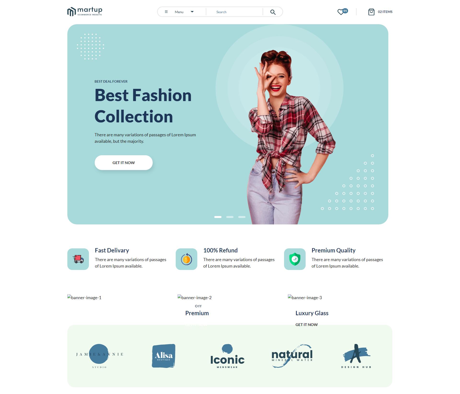 多用途的女性服装电商网页模板-Martup
