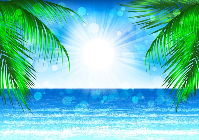 梦幻夏日海边沙滩背景矢量素材