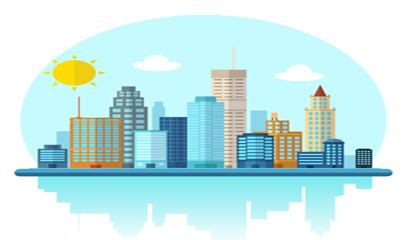 卡通城市建筑矢量素材