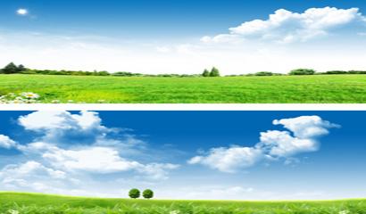 蓝天白云草地背景矢量素材