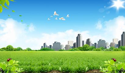白云蓝天城市风景PSD素材