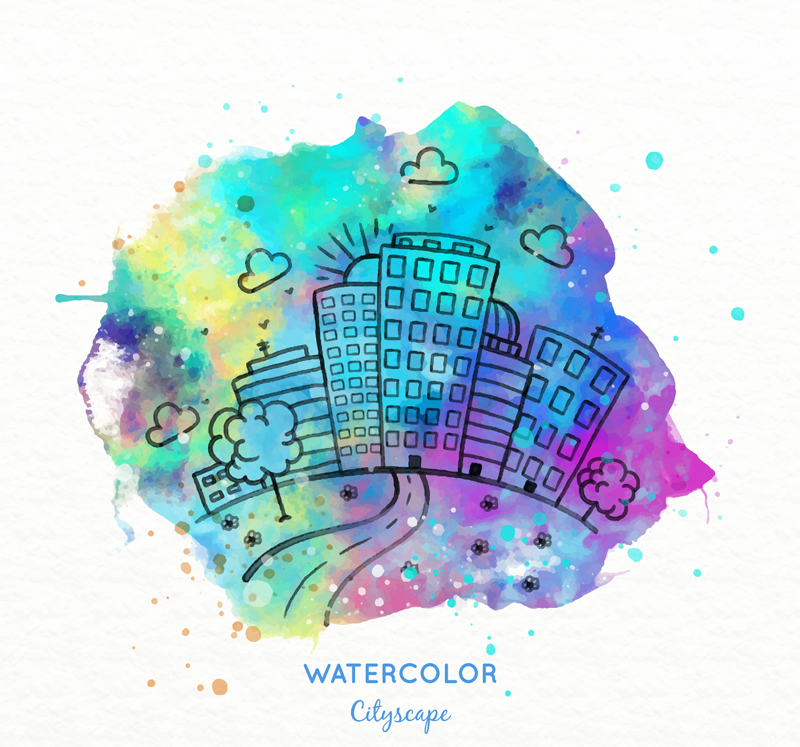 水彩繪城市風光矢量素材