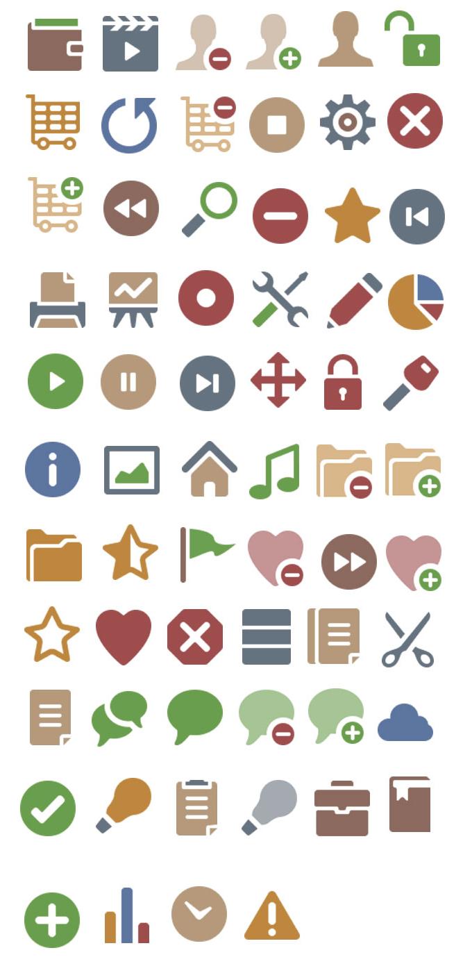 网站常用卡通风格小图标设计素材