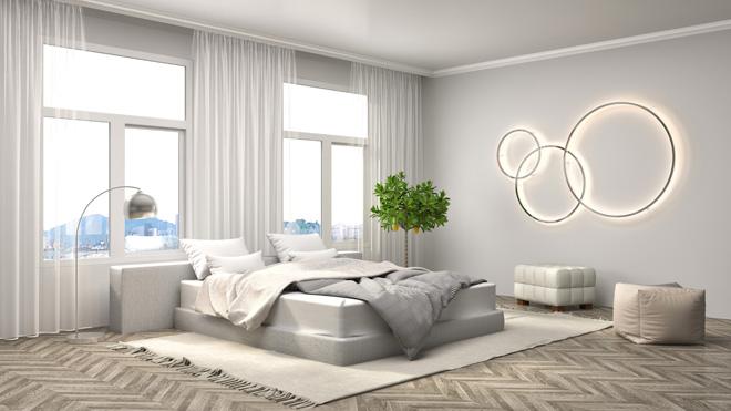 白色现代简约卧室高清摄影图片
