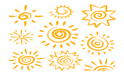 9款橙色手绘太阳矢量素材