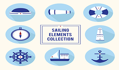 蓝色航海元素图标矢量素材