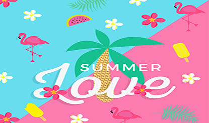 彩色夏季热带元素插画矢量素材