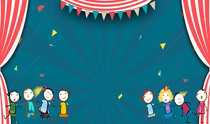 61儿童节狂欢窗帘彩旗几何蓝色banner背景