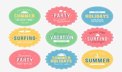 夏季度假元素标签矢量素材