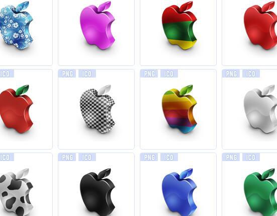 彩色立体苹果图标下载
