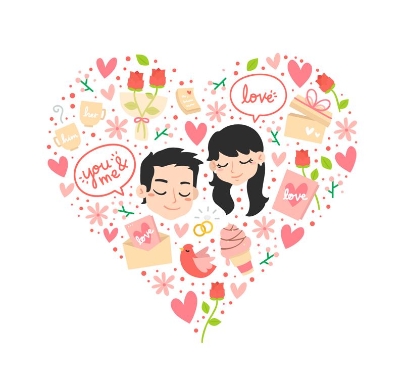 花卉爱心和情侣头像矢量素材