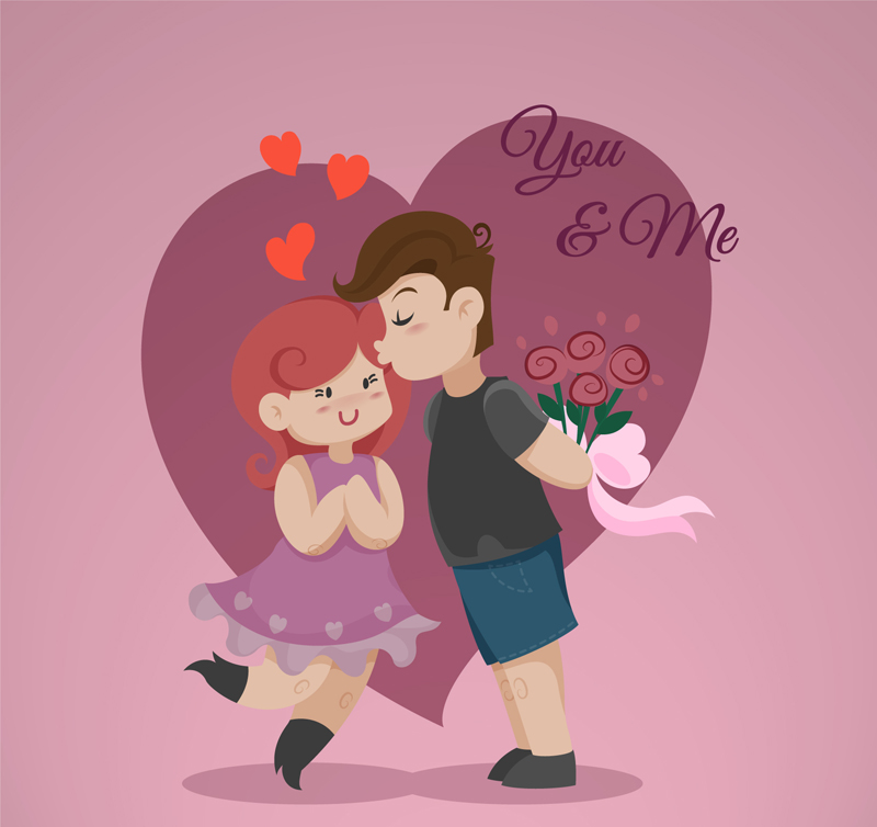 可爱卡通爱心情侣矢量素材