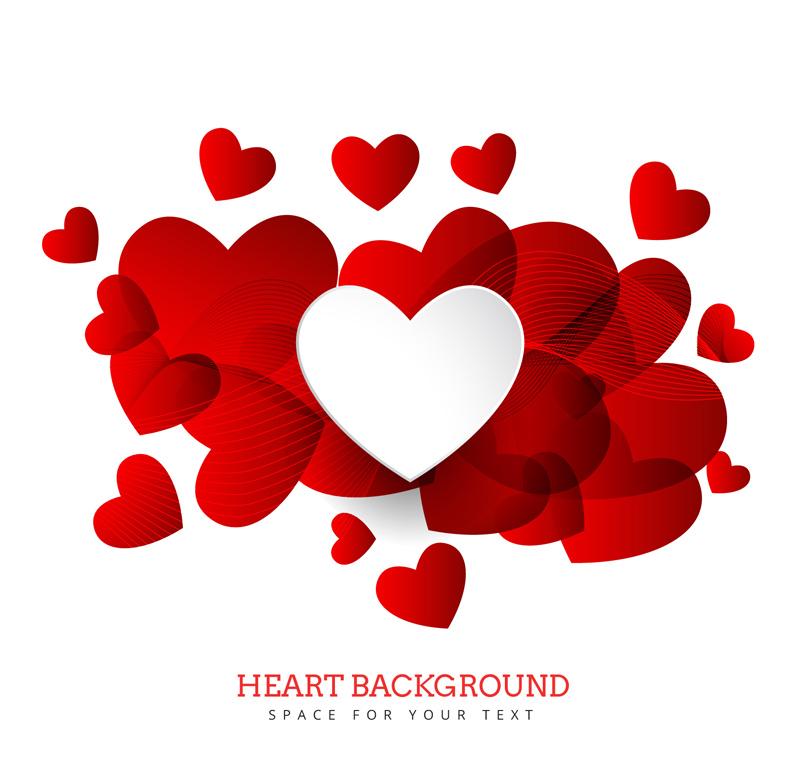 缤纷红色爱心背景和曲线矢量素材