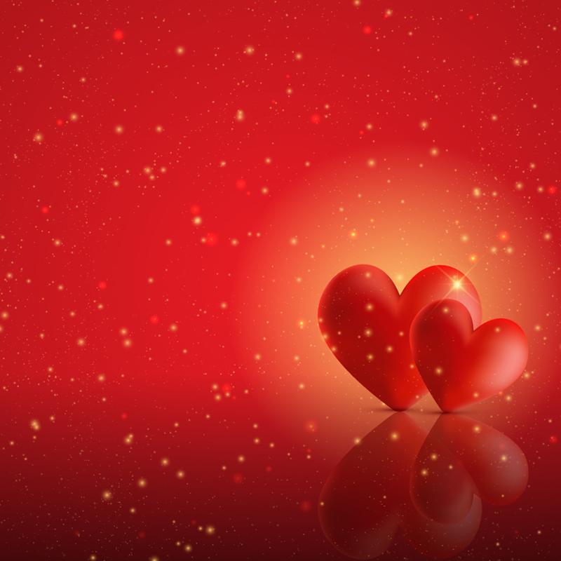 红色立体双心背景矢量素材