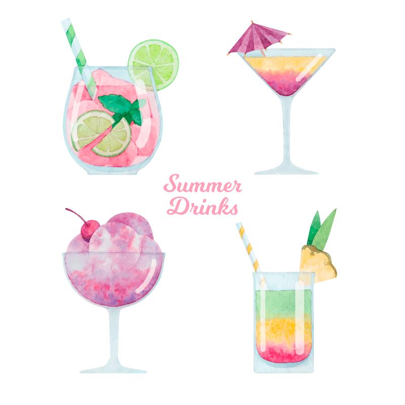 水彩风格夏日饮品矢量素材